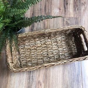 Other - Long Narrow Wicker Basket with Handles